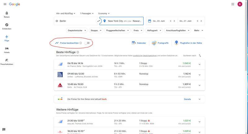 Google Flights - Preise beobachten Button
