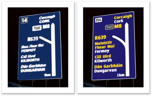 bove: Simulated effects of 'halation' on a current Irish road sign versus a test road sign (right). The same 'halation' effect is applied to both signs.