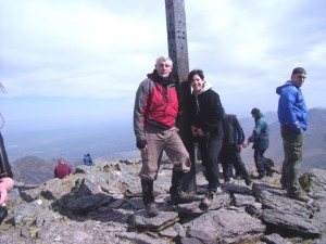 Denise with climb leader John G O'Dwyer on Carrauntoohil summit.