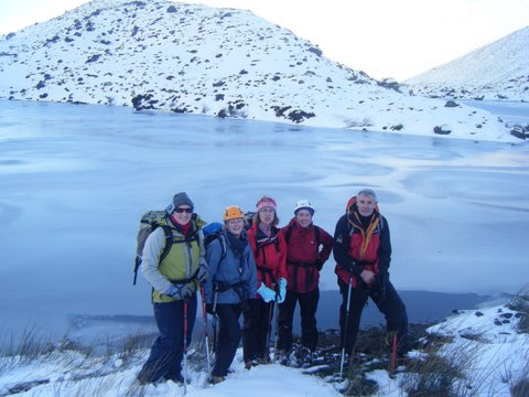 Members of the Mid-Tipp Hillwalkers group enjoying a snowy day on a recent outing in the Galtee Mountains