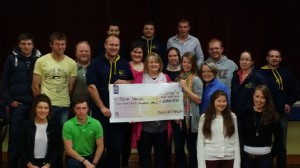 Devils Bit Macra na Feirme Club members presenting Elaine from Pieta House Roscrea with the proceeds from their recent fundraiser.