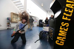 Kevin Roche from Tipperary plays Guitar Hero On Tour in LIT Thurles, which hosts Games Fleadh 2015 on March 11th. Pic Brian Arthur / Press 22