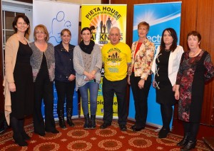 Pictured are (Martina Leamy, Marie Peelo, Bernedette Ryan Finlay, Aisling Guerin, Johnny Togher, Deirdre McCarthy, Sylvia Ryan, Mary McLoughlin) at the Tipperary launch of Darkness into Light, Pieta House's flagship fundraising and awareness event in The Racket Hall Country House on Monday March 30th. Darkness into Light will take place in Roscrea, Cashel and Killaloe/Ballina on May 9th. Participants can register at darknessintolight.ie.