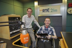 Keith Costello (21) from Graiguenamanagh, Co. Kilkenny supported by Access Employment in Kilkenny shadowed presenter Ryan Tubridy at RTÉ 2FM on Job Shadow Day 2015