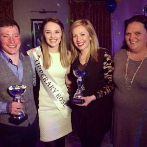 Pictured left to right winners of Mr and Mrs Spring Fling 2016 Frankie Hayes and Shania Faye O'Brien with judge Fiona O'Sullivan current Tipperary Rose of Tralee and Catherine Maher Chairperson of Devilsbit Macra na Feirme