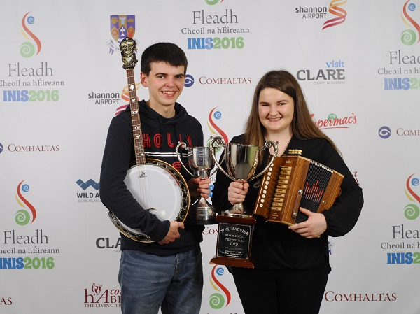 Thomas Aherne of Dungarvan, Waterford and Emma Corbett of Clonmel Tipperary, who came first, in the Duet age 15 to 18 category at the 2016 Comhaltas Ceoltóirí Éireann All Ireland Fleadh Cheoil in Ennis. Photograph by Loretto O Loughlin/www.instantimageireland.com.