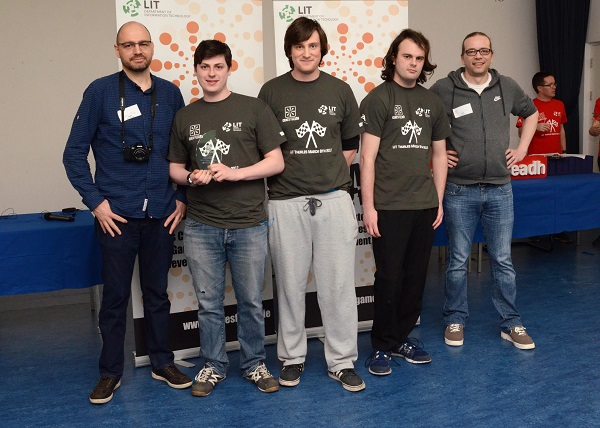 """Fourth Year LIT Game Development students win Best in Original Audio Music with their game """"Fragments of the Damned"""" at Games Fleadh 2017 which took place in the LIT Thurles Campus. They were presented with their trophy by Stephanus Meiring and Ingo Schumacher from EA Galway. Photographed Left to Right: Stephanus Meiring EA, Shane Hayes (Mallow, Cork), James Walsh (Gornahoe, Thurles, Tipperary), Declan Cordial (Birr, Offaly), Ingo Shcumacher EA"""