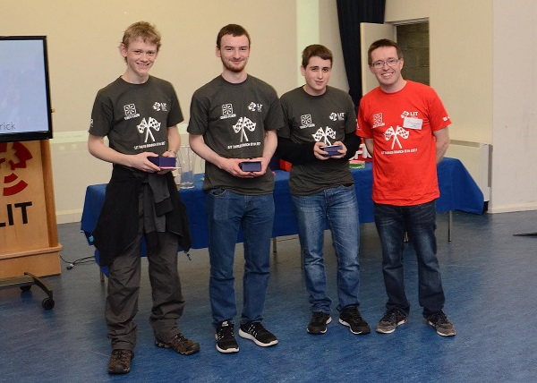 First Year LIT Game Development students came third in Robocode at Games Fleadh 2017 which took place in the LIT Thurles Campus on Wednesday, March 8. They were presented with their trophies by Dr Liam Noonan from LIT Thurles Campus. Photographed Left to Right Ciaran Bent (Scarrif, Clare), Rory Ryan (Kilrush, Clare), Owen O Dea (Ennis, Clare), and Dr Liam Noonan LIT.