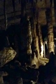 Stalagtites, stalagmites, and columns.