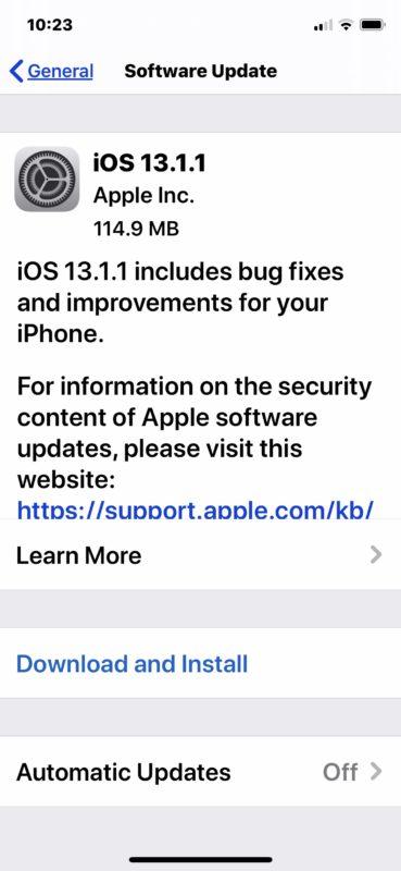 iOS 13.1.1 update download