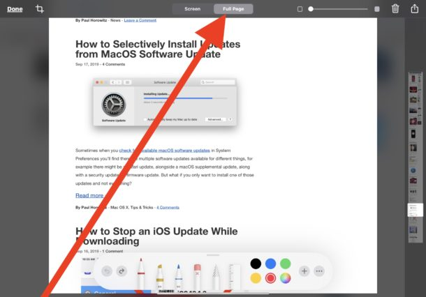 Take full page screenshots of webpages on iPadOS