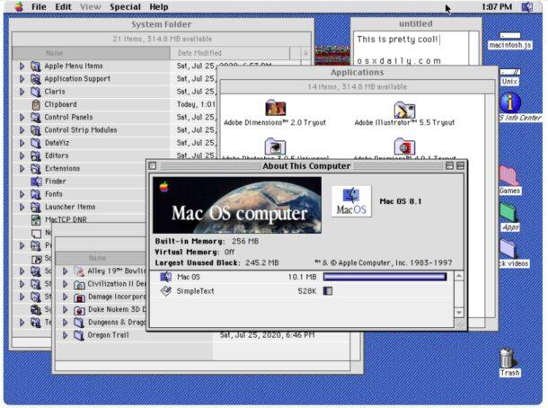 Mac OS 8.1 emulator