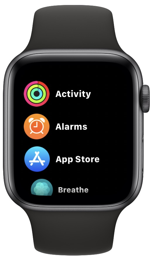 Apple Watch apps in a list view