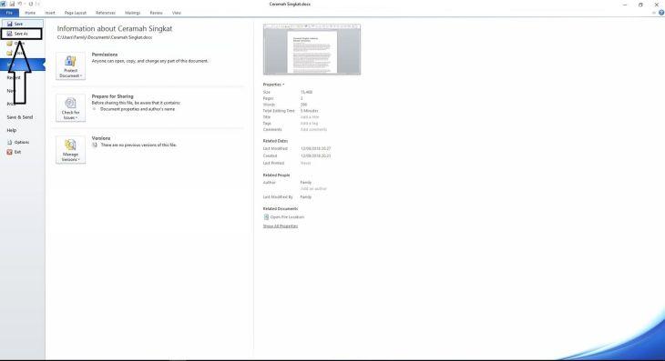 2 Tekan File Dan Pilih Save As