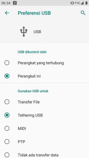 Pilih Tethering USB