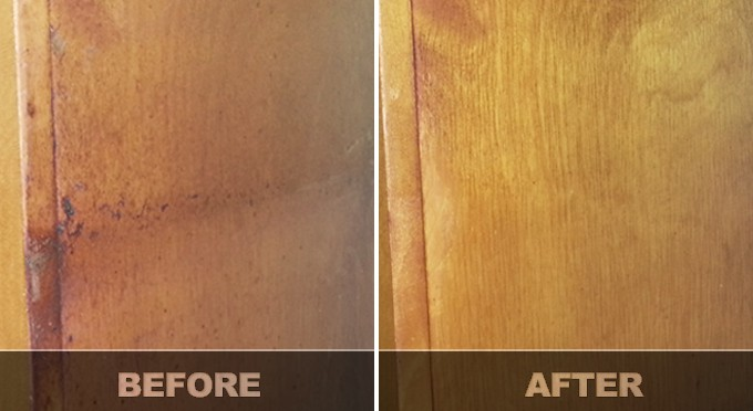 Cleaning Greasy Cabinet Before After