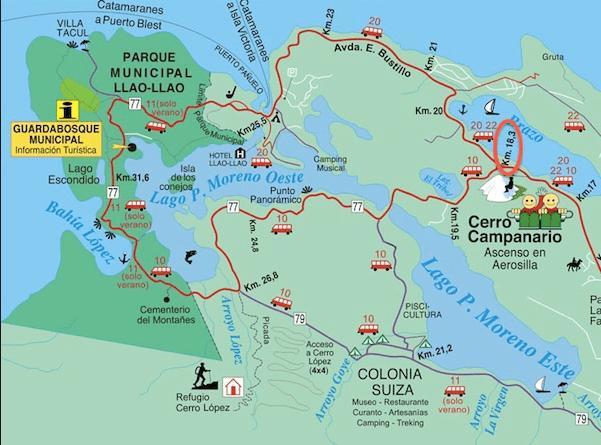 Mappa del Circuito Chico di San Carlos de Bariloche in Argentina