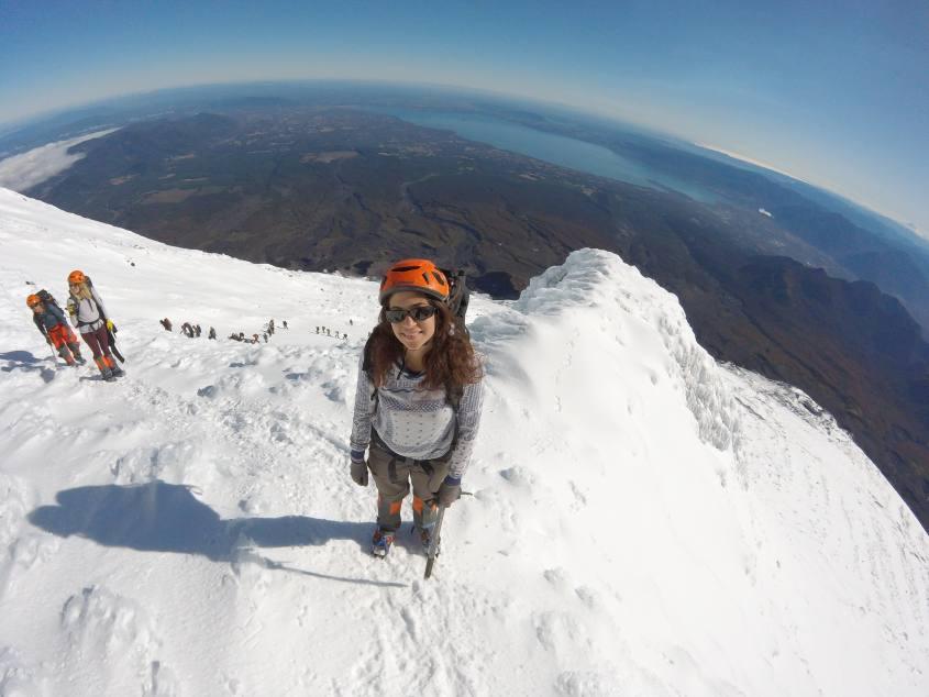 Vista del panorama dalla cima del Vulcano Villarrica di Pucon in Cile
