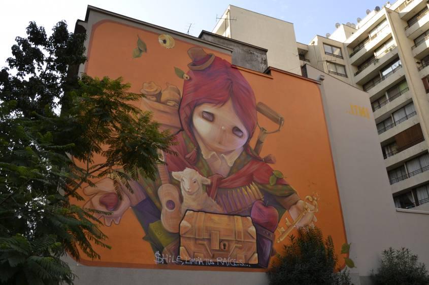 Murales dell'Ekeko femmina di Inti a Santiago del Cile