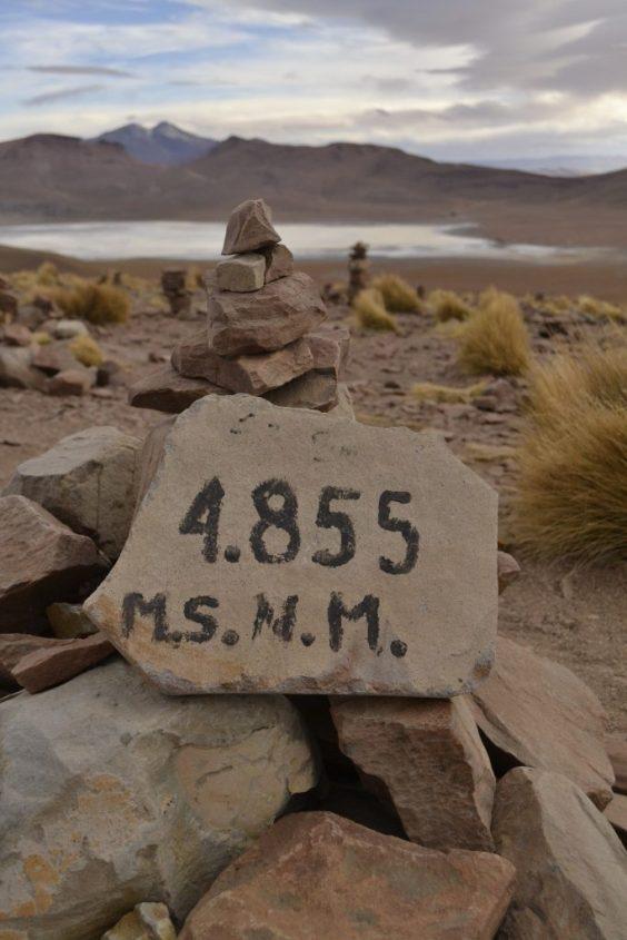 Laguna Morejón a 4855 metri durante il tour al Salar di Uyuni in Bolivia