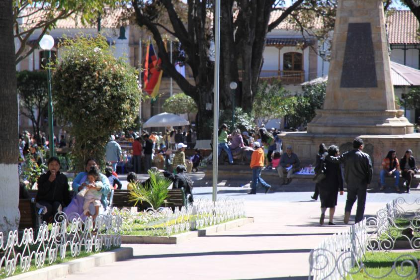 Piazza 25 de Mayo nel centro di Sucre in Bolivia