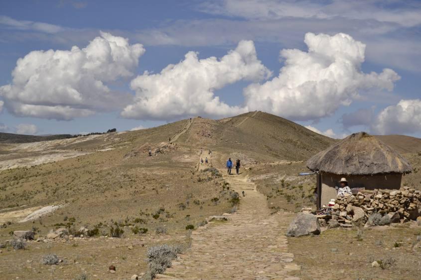 Percorso centrale da nord a sud sull'Isla del Sol in Bolivia