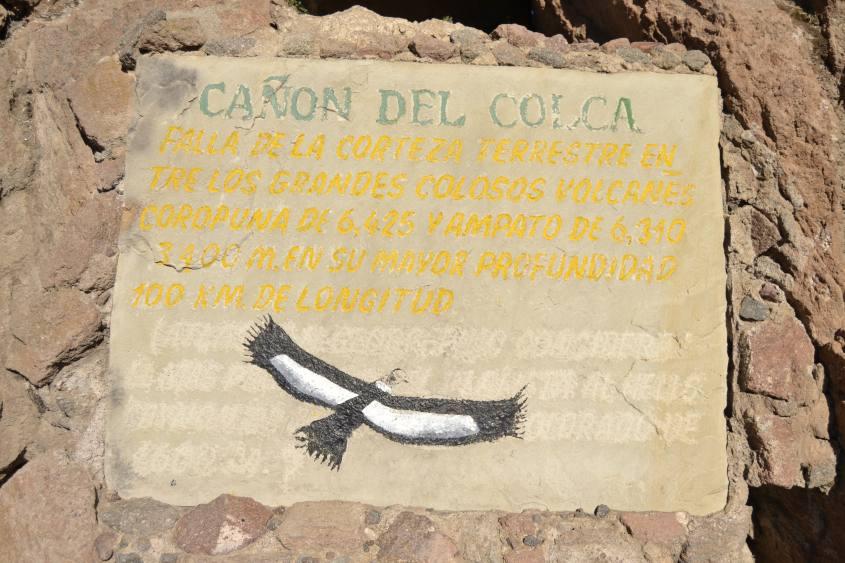 Iscrizione su roccia nel Canyon del Colca