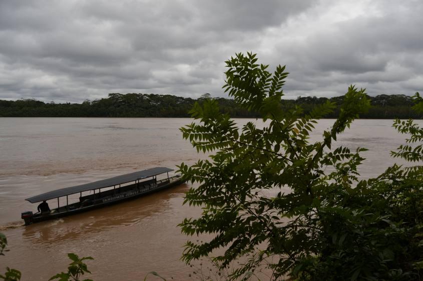 Barca sul fiume Tambopata nella Foresta Amazzonica del Perù