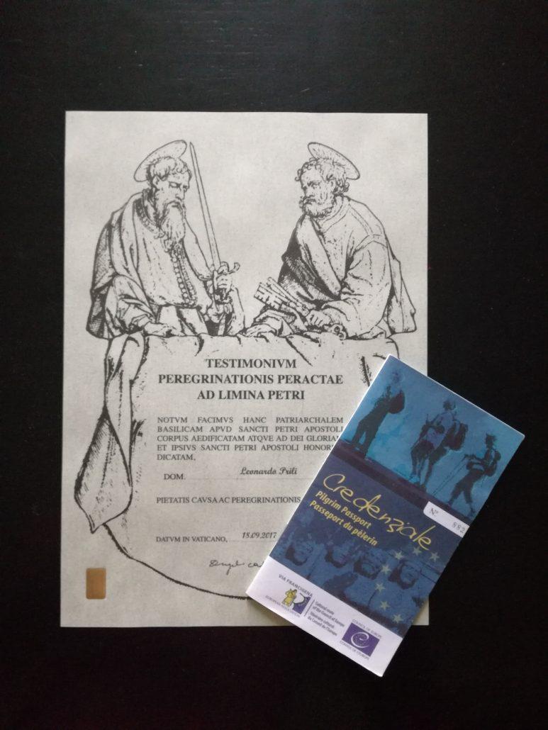 Testimonium e Credenziale Via Francigena