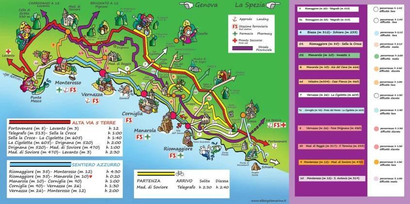 Mappa dei sentieri delle Cinque Terre