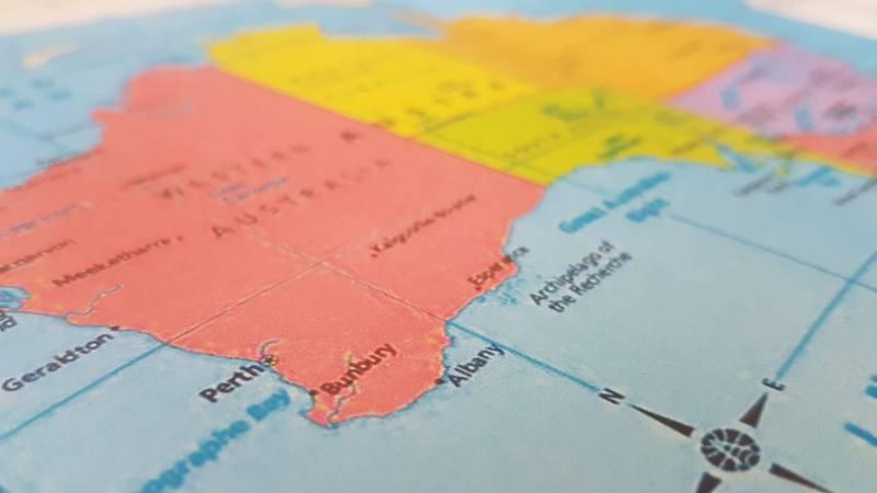 Mappa o cartina per viaggio in Australia con Perth in evidenza
