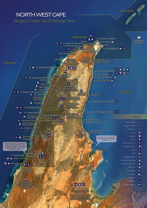 Mappa con nomi del North West Cape, la barriera corallina del Western Australia
