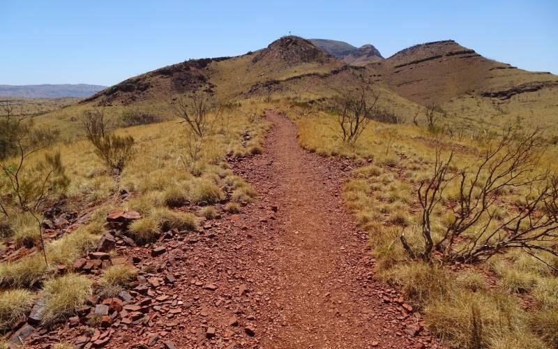 Percorso di trekking per raggiungere la cima del Mount Bruce al Parco di Karijini
