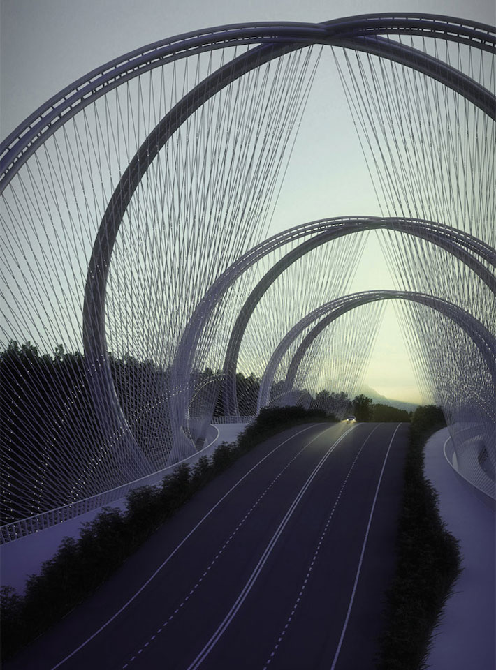 DNA-Shaped Suspension Bridge Inspired By Olympic Games' Five Rings