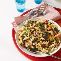 Pasta With Garlicky Swiss Chard And Corn - Recipe