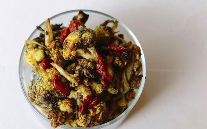 Turmeric Roasted Cauliflower With Activated Charcoal And Goji Berries – Recipe