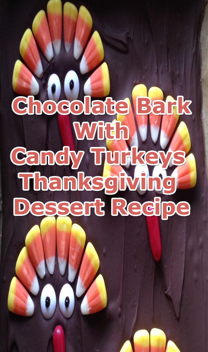 Chocolate Bark With Candy Turkeys - Thanksgiving Dessert Recipe