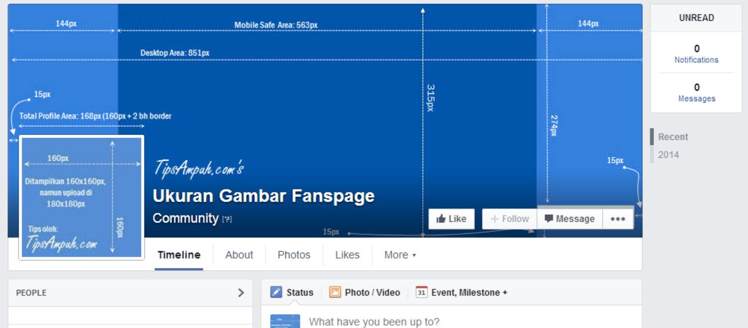 Ukuran gambar Fanpages Facebook  TipsAmpuhCOM