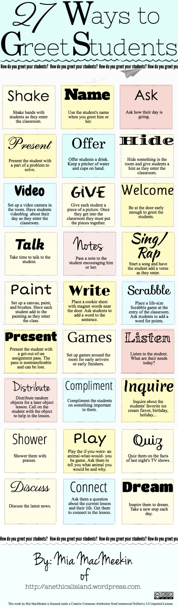 27 Ways to Greet Students Infographic