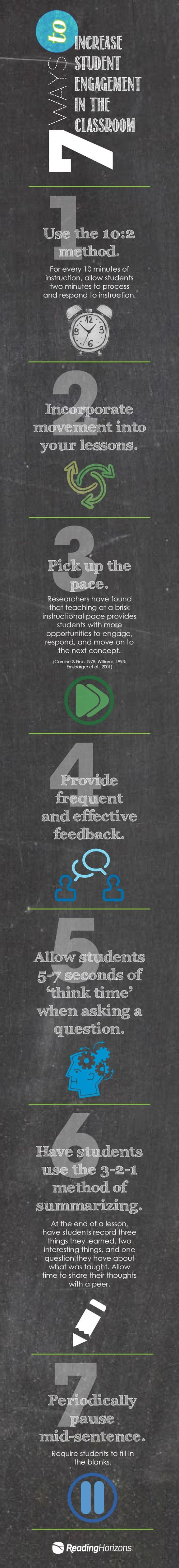 Infographic 7 ways to increase stduent engagement in the classroom