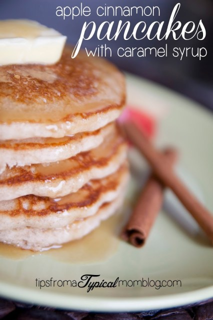 Fresh Apple Cinnamon Pancakes with Homemade Caramel Syrup from Tips From a Typical Mom. #pancakes #recipe #breakfast