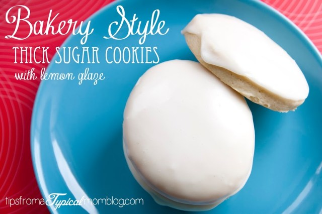 Kneaders Bakery Sugar Cookies Recipe with awesome Lemon Glaze! These are perfectly thick and fluffy Bakery Style Sugar Cookies and the glaze is perfect. From Tips From a Typical Mom.