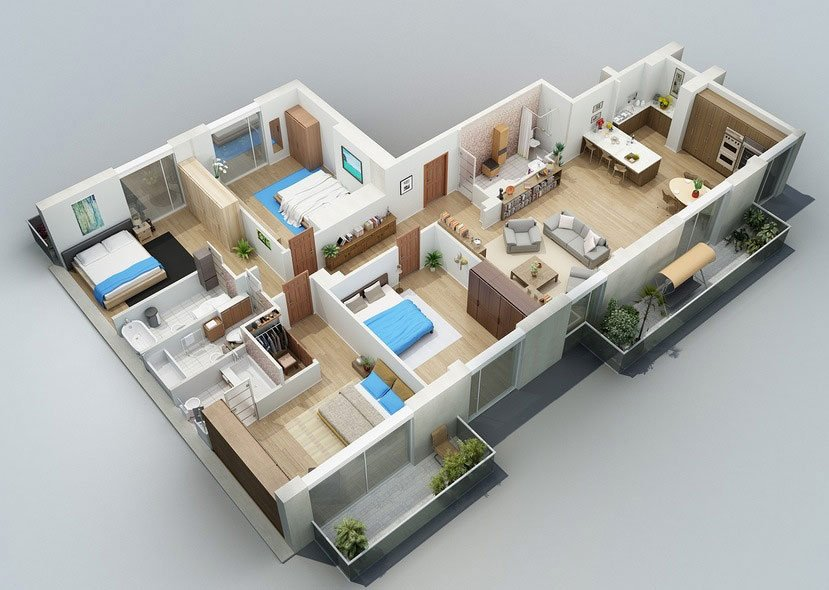 Hình ảnh 6 trong 3 bản vẽ mẫu nhà cấp 4 mái thái có 4 phòng ngủ đẹp và khoa học
