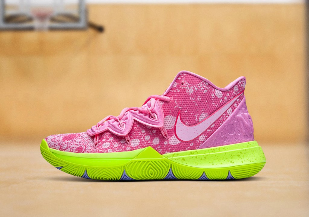 """Picture of the Nike Kyrie 5 """"Patrick Star"""" Shoe."""