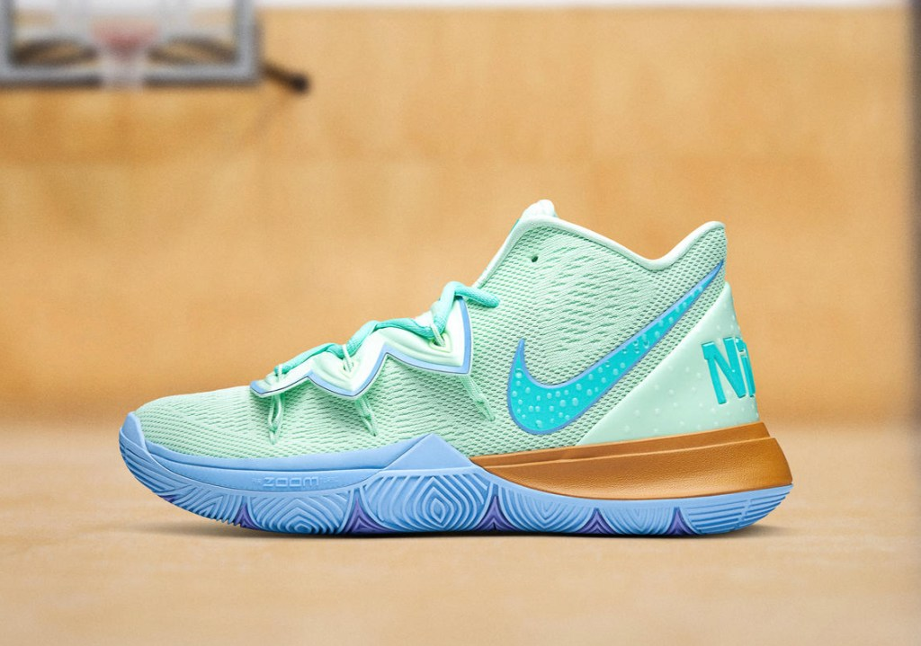 """Picture of the Nike Kyrie 5 """"Squidward"""" shoe."""