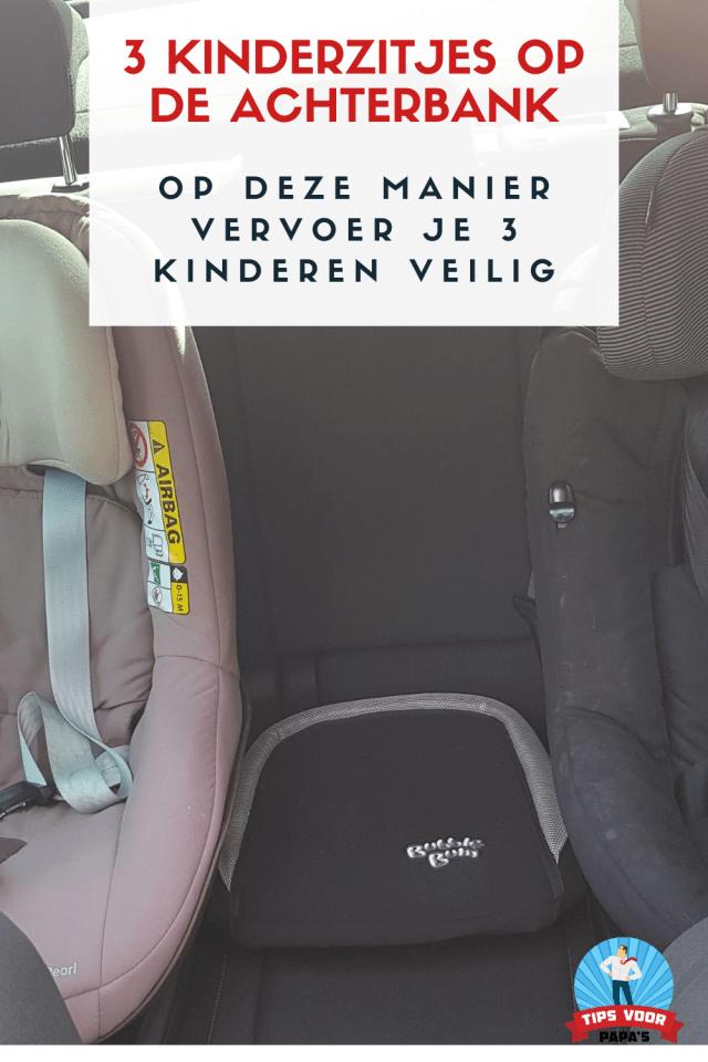 Drie kinderzitjes achterbank auto veiligheid