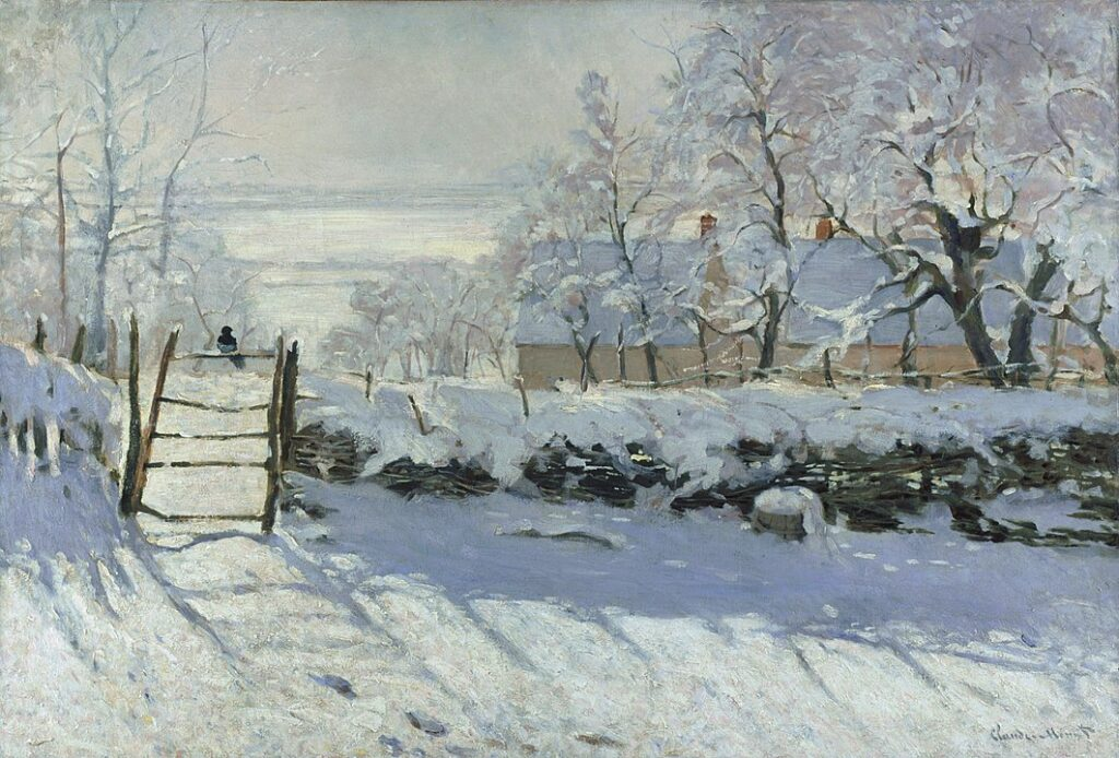 A painting of a magpie perched on a fence in the middle of a cold winter landscape.