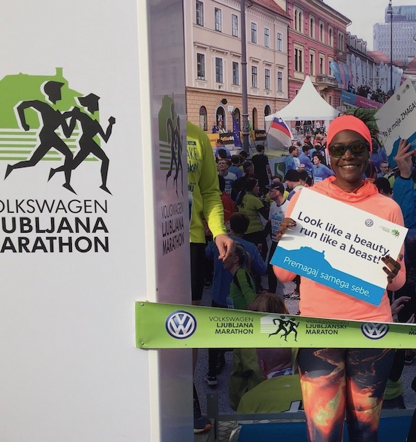 Monique at the Ljubljana marathon which was part of her running holiday in Slovenia.