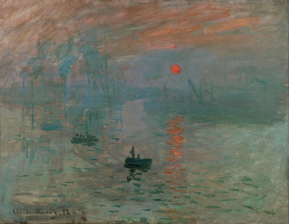 Impression, Sunrise: an iconic painting by Monet depicting a small boat at dawn.