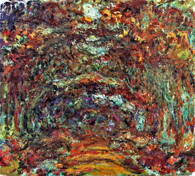 Monet's painting of a path of roses at his home in Giverny, featuring a wild splash of different colours and textures.